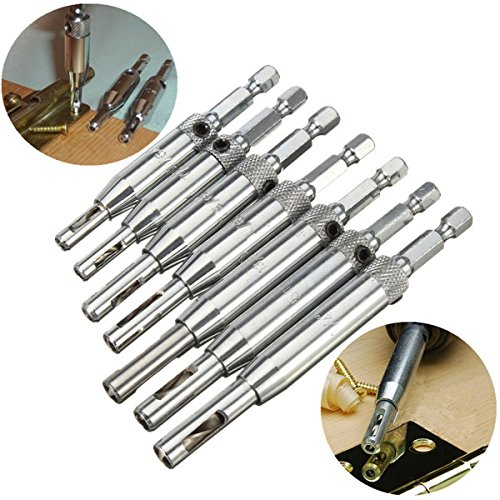DyNamic 7Pcs 1/4 Inch Shank Hss Self Centering Hinge Drill Bits Countersink Drill Bit -