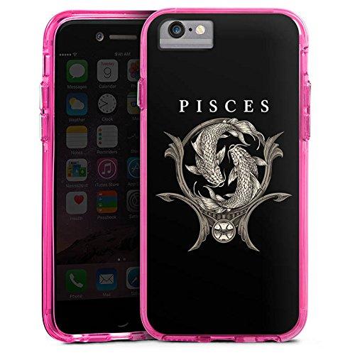 Apple iPhone 6 Bumper Hülle Bumper Case Glitzer Hülle Fische Sternzeichen Astrologie Bumper Case transparent pink