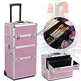Yahee Alu Schmuckkoffer Friseurkoffer Kosmetikkoffer Beautycase Koffer Trolley mit Schlösser und Tragegurt (Pink)