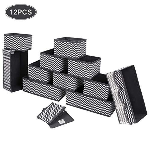 Dimj cassetto organizer armadio divisori scatole per armadio pieghevole contenitori armadio per cassetti biancheria intima, reggiseni (12 pezzi)