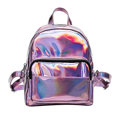 Duevin Rucksack Schultern Tasche, Rucksack Mini pu Leder Hologramm glänzende Schultasche für Frauen(Helles Lila) (Kinder Jubeln-tasche)