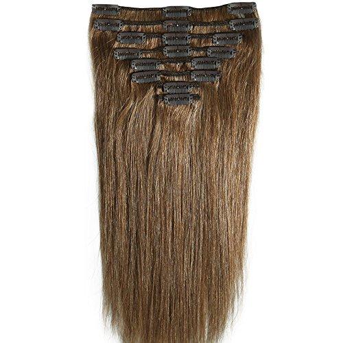 8pz 25cm Extension Clip Capelli Veri Set Capelli Lisci Lunghi Remy Human Hair Full Head Parrucca Castano