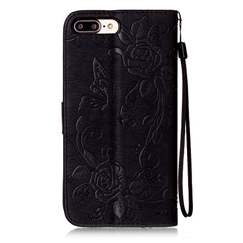 C-Super Mall-UK Apple iPhone 7 Plus hülle: Qualität Exquisite Funkeln Bling Strass Geprägtes Blumen & Schmetterling-Muster PU-Leder-Mappen-Standplatz -Schlag-hülle für Apple iPhone 7 Plus(azurblau) black(bling)