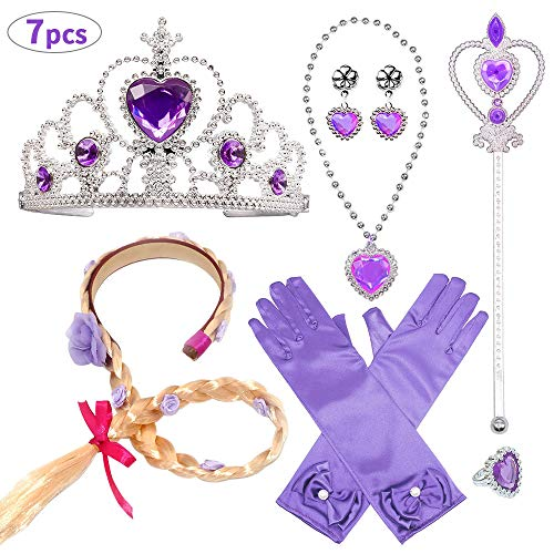 Up Kostüm Dress Elsa - Aperil Prinzessin Kostüm Set für Mädchen Party Dress Up Zubehör mit ELSA Handschuhen Zauberstab Halskette Ring Ohrring Blume Stirnband für Mädchen Geburtstag Geschenk Alter 3 - 9 Jahre