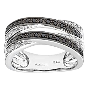 Naava Women's Diamond Ring, 9 ct White Gold Pave set with Black and White Diamonds In Crossover Style,Size:H
