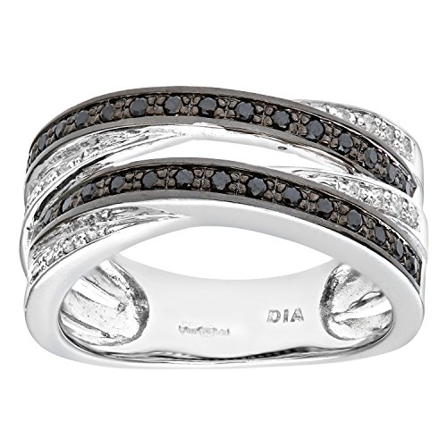 Naava Women's Diamond Ring, 9 ct White Gold Pave set with Black and White Diamonds In Crossover Style,Size:L