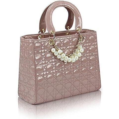 Igo Split mucca donne cuoio Cannage diamante Texture grata Lady borse tracolla