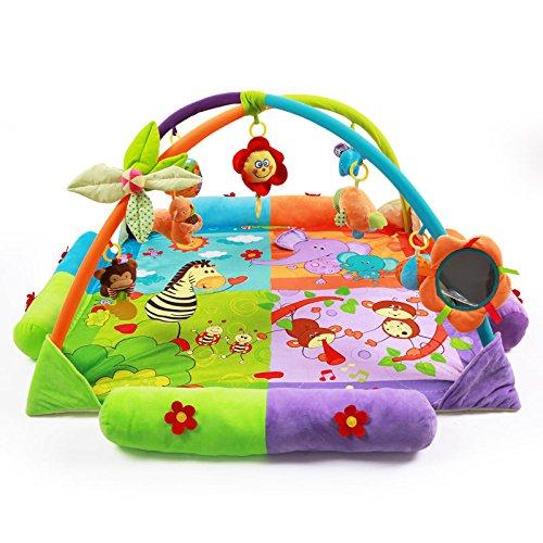 JYSPORT Alfombras de juego y gimnasios bebés animalitos gimnasio para manta de juegos manta juguetes educativos (cartoon animals)