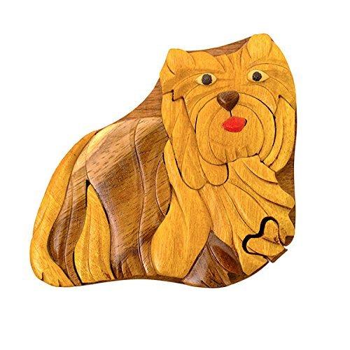 Scatola Magica scatola di gioielli TRICK SECRET a forma di Yorkshire Terrier con Intarsi in Legno Fatti a Mano (3313) (g2)