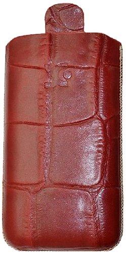 Suncase Original Echt Ledertasche mit Rückzugfunktion für Apple iPhone 3G/3GS croco-rot Iphone 3g Leder-etui