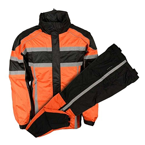 Nex Gen Mens Orange/Blk/Grey Motorcycle Rain Suit Water Resistant SH233102 (2XL) -