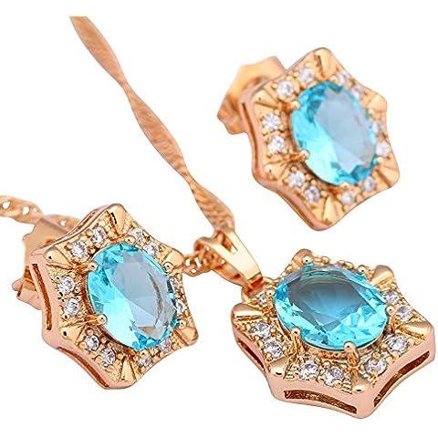 Da donna Fashion Jewelry Topazio Azzurro Acquamarina Ciondolo/orecchini placcati in oro giallo 18K set per le donne S143