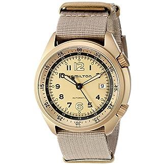 Hamilton de Color Caqui Aviación de los Hombres automático Suizo Metal y Lienzo Reloj de Vestido, Color: Beige (Modelo: h80435895)
