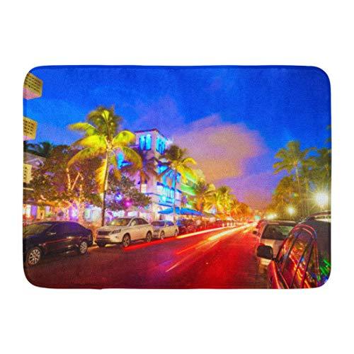 Soefipok Fußmatten Bad Teppiche Outdoor/Indoor Fußmatte Blue Night Miami Beach South Sonnenuntergang in Ocean Drive Florida und Auto Lichter Bunte Innenstadt Badezimmer Dekor Teppich Badematte