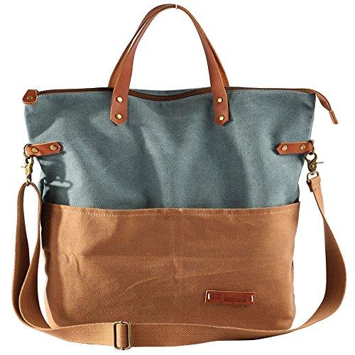 Asdflina Mode Lässige Retro große Kapazität Splicing Collision Bag Canvas Handtasche Geeignet für den täglichen Gebrauch