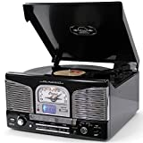 Lauson CL141 Plattenspieler Retro Bluetooth, CD USB Radio, Stereo-Lautsprecher Digitalisieren Vinyl CD