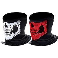 Half Skull Face Mask Motorcycle Face Mask Bandana Balaclava Headwear, 2 Pack