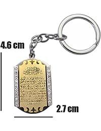 Wunderschöner Schlüsselanhänger - Art Deco -Ayetel Kürsi - 18K Gold Vergoldet 925 Silber Versilbert. imitat Diamanten. Muslim Islam - Glücksbringer