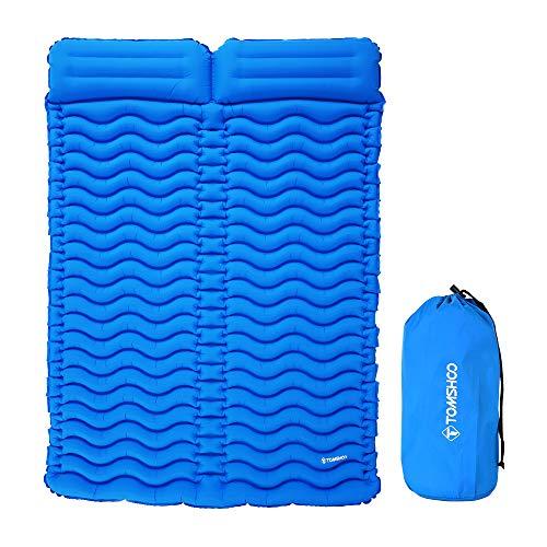 TOMSHOO Esterillas Auto-inflables Double,Esterilla Inflable de Ultraligero Portátil Impermeable con Almohada para Acampada al Aire Libre o en Casa,Senderismo y Playa (Azul)