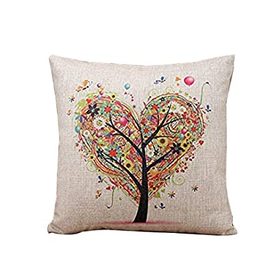 Cushion Cover 18 x 18 , Rcool Love Tree Linen Decorative Pillow Case produced by Rcool - quick delivery from UK.