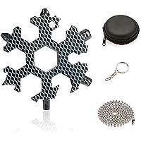 EKKONG 18 en 1 Multi herramienta copo de nieve,Tarjeta de Herramientas Snowflakes,wrench Tool herramienta multifunción EDC Multifuncional con Caja de regalo (Patrón de carbono)