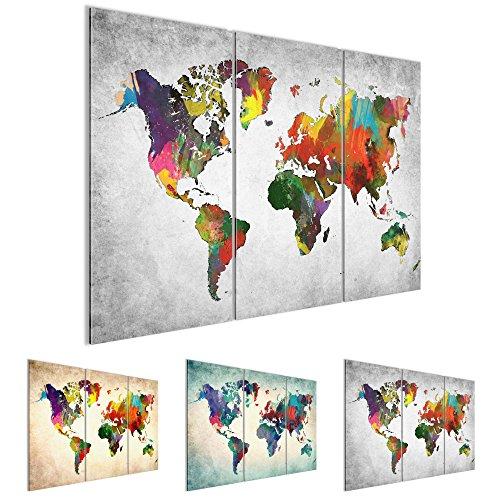 Bilder 120 x 80 cm - Weltkarte Bild - Vlies Leinwand - Kunstdrucke -Wandbild - XXL Format – mehrere Farben und Größen im Shop - Fertig Aufgespannt - Kontinent – Welt – Landkarte 105131c