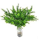 samidy 4Ramos realista Artificial Plantas Primavera Verde Hojas de eucalipto Artificial Plástico Shrubs para al aire libre casa cocina mesa de jardín tumba decoración de Pascua