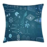 DANCENLI Science Throw Pillow Cushion Cover, Scientific Method Themed Blue Toned Design Atom Module DNA Graphs, Decorative Square Accent Pillow Case, 18 X 18 Inches, Teal Blue Cadet Blue
