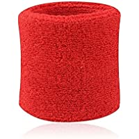 BODHI20001paio Sweatbands sport Wristband cotone elastico Sweatbands per tennis, squash, ginnastica di, Red