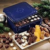 Aachener Weihnachtsgebäck-Truhe, Süßigkeiten-Box, Keksdose zu Weihnachten, mit Dominos, Zimtsternen & Co, ideales Geschenk, 1 x 1,175 kg