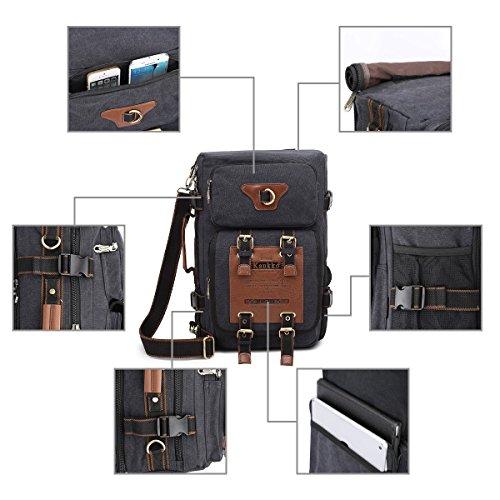 Vintage Rucksäcke Herren Military Canvas Rucksack Fit to 15.6 Inches Laptoptasche für Camping Wandern (Khaki) Schwarz