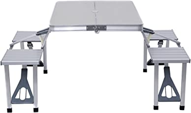 IRIS Outdoor Aluminium Portable Folding Camping Picnic Table with 4 Seats