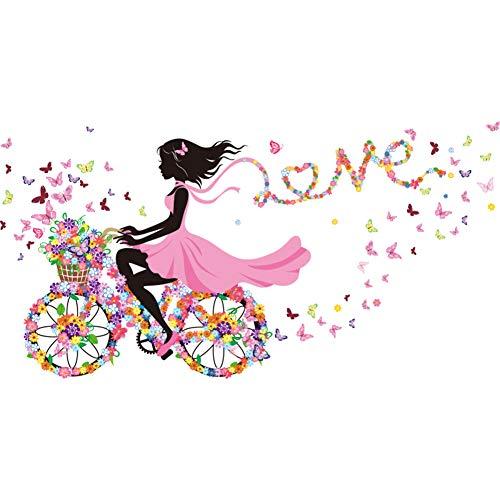 Lumanuby 1x Bunt Blumen-Fee fährt Fahrrad Wand Decal PVC für Wohnzimmer Schlafzimmer oder Kindergarten Abnehmbarer Aufkleber mit 'Love' Ribbon Voller Blume, Wandtattoo Serie Size 140x70cm (Blumen Ribbon)