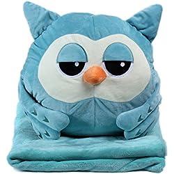 KOSBON 3en 1Cute Cartoon Terciopelo Felpa Coral Polar Manta Almohada y manta de aire acondicionado coche cojín Set. Blue Owl