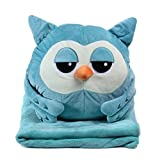 KOSBON 3 In 1 Blau Eule Cute Cartoon Plüsch Angefüllte Tier Spielzeug Throw Pillow Blanket Set mit Handwärmer Design.