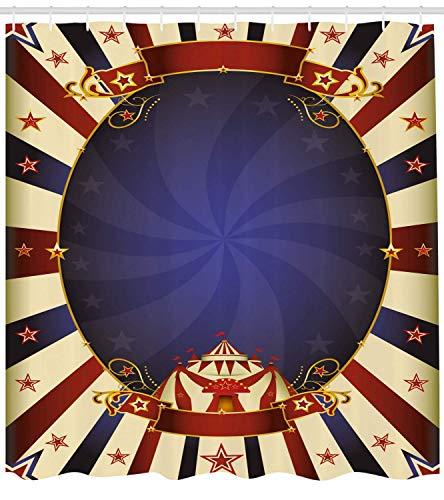 Nyngei Vintage Duschvorhang Zirkus Thema Retro Karneval Zelt Band Figuren Poster wie Bild Tuch Stoff Badezimmer Dekor Set mite Marineblau