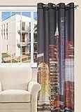 140x245 schwarz braun gelb Vorhang Shanghai Gardine Ösenschal Stadt City Pop Art
