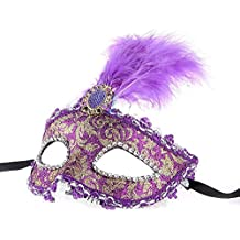 SODIAL (R) de la mascara con plumas estilo veneciano purpura Festival Carnaval X boda