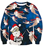 uideazone Herren Damen Weihnachten Sweatshirts 3D Printed Stats Santa lustige Spiel Pullover Shirts Cool