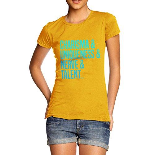 TWISTED ENVY Women's Charisma, Uniqueness, Nerve & Talent T-Shirt