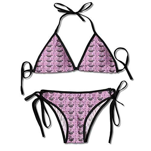 Custom Pattern Swirl Reversible Fixed Bikini Top Swimsuit for Women -