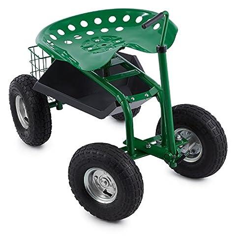 Waldbeck Park Ranger - Siège de jardin sur larges roues caoutchouc pour travaux de jardinage (siège pivotant et réglable en hauteur, compartiment à outils, cadre acier stable)