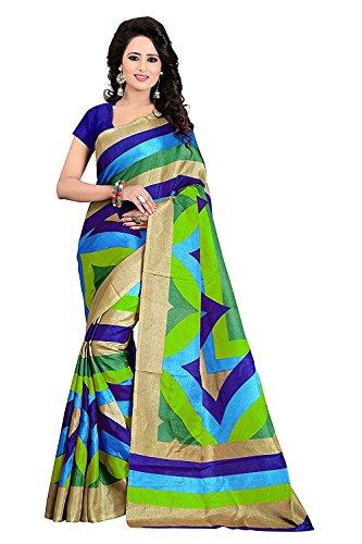Manorath Khadi Saree (M_Grn-Blue Patta 1564_Free Size)