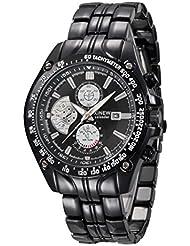 Reloje Hombres,Xinan Militar de Acero Inoxidable Reloj de Pulsera Analógico (Negro)