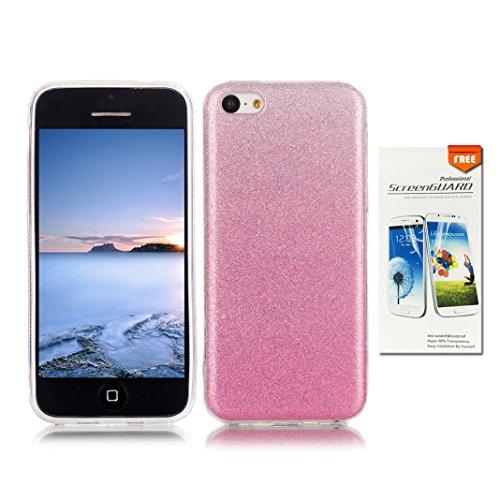 OuDu iPhone 5C Hülle, Glitzern Funkeln Hülle TPU Silicone Etui für iPhone 5C Bling Glitter Case Sparkle Style Cover Soft Lightweight Bumper Flexible Schlanke Schale Glatte Leichte Tasche Ultra Dünne E Rosa