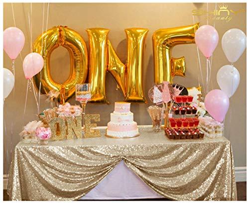 ShinyBeauty 150x260cm Licht Gold Pailletten Tischdecke Table Overlay und Pailletten Cover auf Hochzeit/Party/Event/Dekoration (Licht Gold) - Pailletten-licht