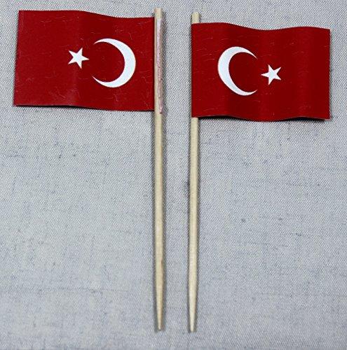Party-Picker Flagge Türkei Papierfähnchen in Profiqualität 50 Stück 8 cm Offsetdruck Riesenauswahl aus eigener Herstellung