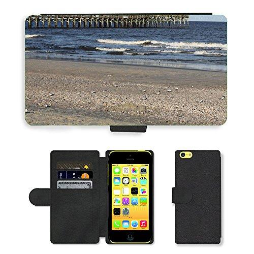 Just Mobile pour Hot Style Téléphone portable étui portefeuille en cuir PU avec fente pour carte//m00139088Seashore Pier Plage Mer Sable/oiseaux/Apple iPhone 5C