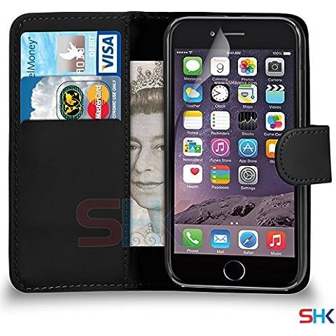 Di Apple iPhone 6 Nero raccoglitore dell'unità di elaborazione del cuoio di caso di vibrazione del sacchetto della copertura + protezione dello schermo e panno di lucidatura DA SHUKAN