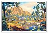 Spaziergang im Park - Kapiolani Park - Oahu, Hawaii - Vintage Retro Hawaii Reise Plakat Poster von Kerne Erickson - Kunstdruck - 33cm x 48cm